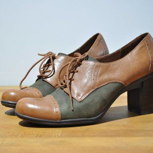 Brown leather & green suede stacked heel oxfords